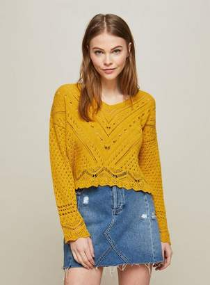 Miss Selfridge Ochre open knitted summer top