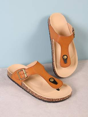 Shein Cork Footbed Slide Sandal with Buckled T-Strap Thong TAN