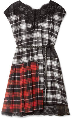 Marc Jacobs Lace-trimmed Plaid Silk-chiffon And Shell Mini Dress - Black