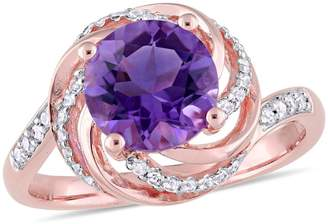 Concerto Sterling Silver, Amethyst, White Topaz Ring with 0.04 CT. T.W. Diamonds