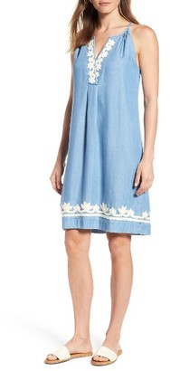 Women's Tommy Bahama Embellished Chambray Shift Dress $138 thestylecure.com