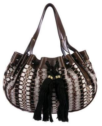 Jimmy Choo Leather-Trimmed Printed Canvas Bag