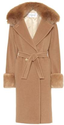 Max Mara Hans camel wool fur-trimmed coat