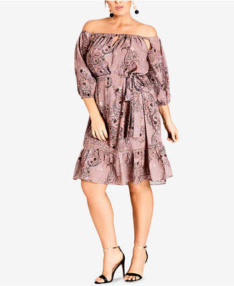 City Chic Trendy Plus Size Printed Off-The-Shoulder Peasant Dress