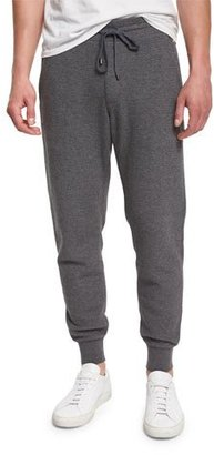 Vince Racking Thermal-Stitch Drawstring Sweatpants, Heather Carbon $195 thestylecure.com