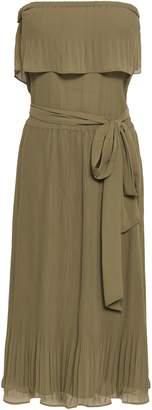 MICHAEL Michael Kors Off-the-shoulder Pleat-trimmed Georgette Dress