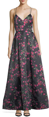 Alice + Olivia Marilla V-Neck Sleeveless Strappy Floral-Print Gown