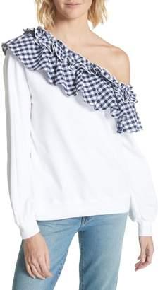 Clu Gingham Ruffle One-Shoulder Sweatshirt