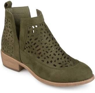 Co Brinley Women's Faux Suede Geometric Laser Cut Side Split Stacked Wood Heel Booties