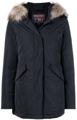 Woolrich fur-trim zipped parka coat
