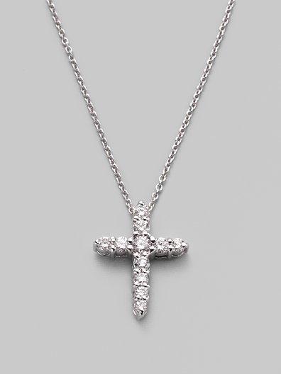 Roberto Coin Diamond & 18K White Gold Cross Necklace/½