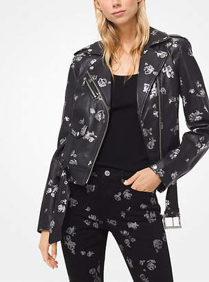 Michael Kors Metallic Rose Print Leather Moto Jacket