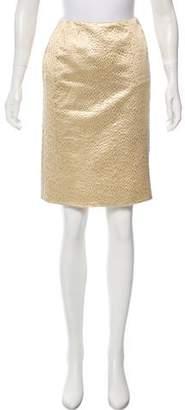 Oscar de la Renta Metallic Knee-Length Skirt