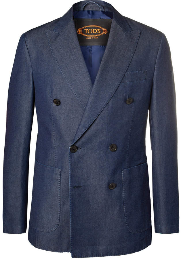 Indigo Double-Breasted Washed-Denim Blazer