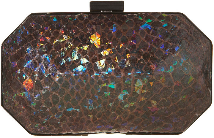 Purple Holographic Snake Print Box Chain Bag
