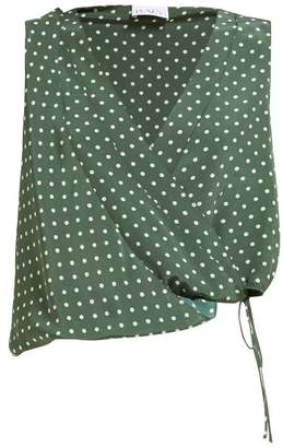 Raey Cross Over Polka Dot Silk Top - Womens - Green Print