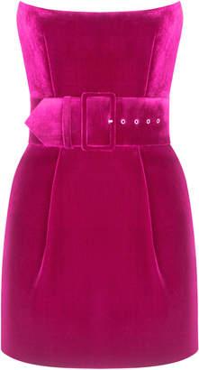Rasario Belted Velvet Mini Dress Size: 42