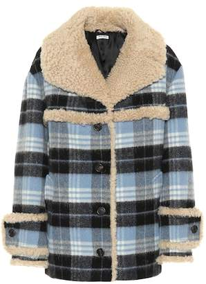 Miu Miu Fur-trimmed wool-blend coat