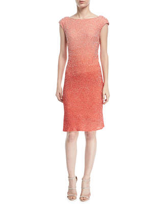 Pamella Roland Cowl-Back Sequined Cocktail Dress