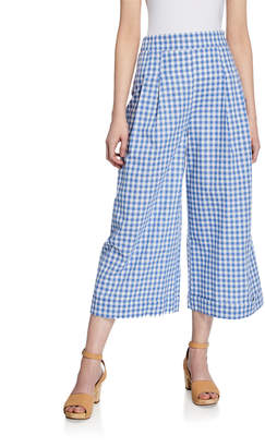 ENGLISH FACTORY High-Rise Gingham Cropped Pants