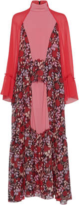 Giamba Floral Turtleneck Maxi Dress