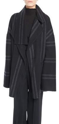 Vince Striped Belted Wool Blanket Coat