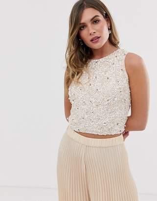 Lace & Beads embellished sleeveless crop top two-piece in pink