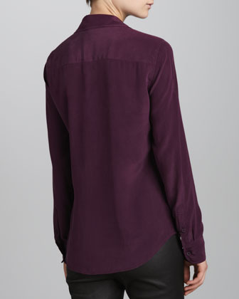 Equipment Brett Vintage Wash One-Pocket Blouse, Cabernet