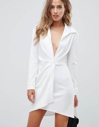 Asos DESIGN sexy drape bodycon shirt mini dress