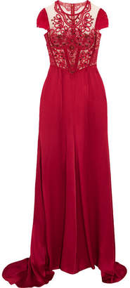 Jenny Packham Embroidered Tulle And Satin Gown - UK16
