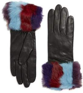 Lord & Taylor Rabbit Fur and Leather Gloves
