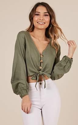 Showpo This is magic top in khaki linen look - 8 (S) Long Sleeve Tops