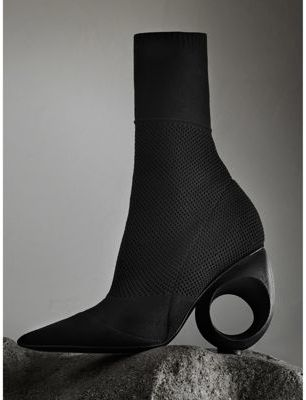 Burberry Mid-calf Knitted Boots with Sculpted Heel $925 thestylecure.com