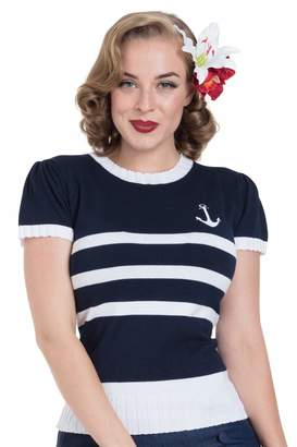 Parker Ro Rox Voodoo Vixen Nautical Anchor Striped Top Vintage Retro 50s Sailor Jumper - (M)