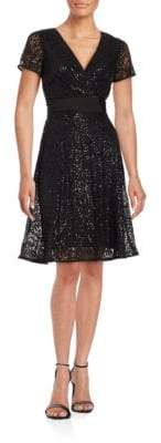 NUE by Shani Short-Sleeve Sequined Lace Fit-and-Flare Dress