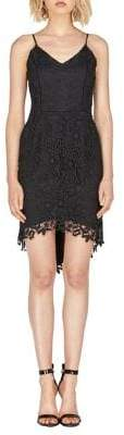 Adelyn Rae Kris Woven Lace Hi-Low Sheath Dress