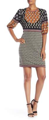 Max Studio Printed 3\u002F4 Bubble Sleeve Dress