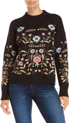 Lucy Paris Black Embroidered Crew Neck Sweater