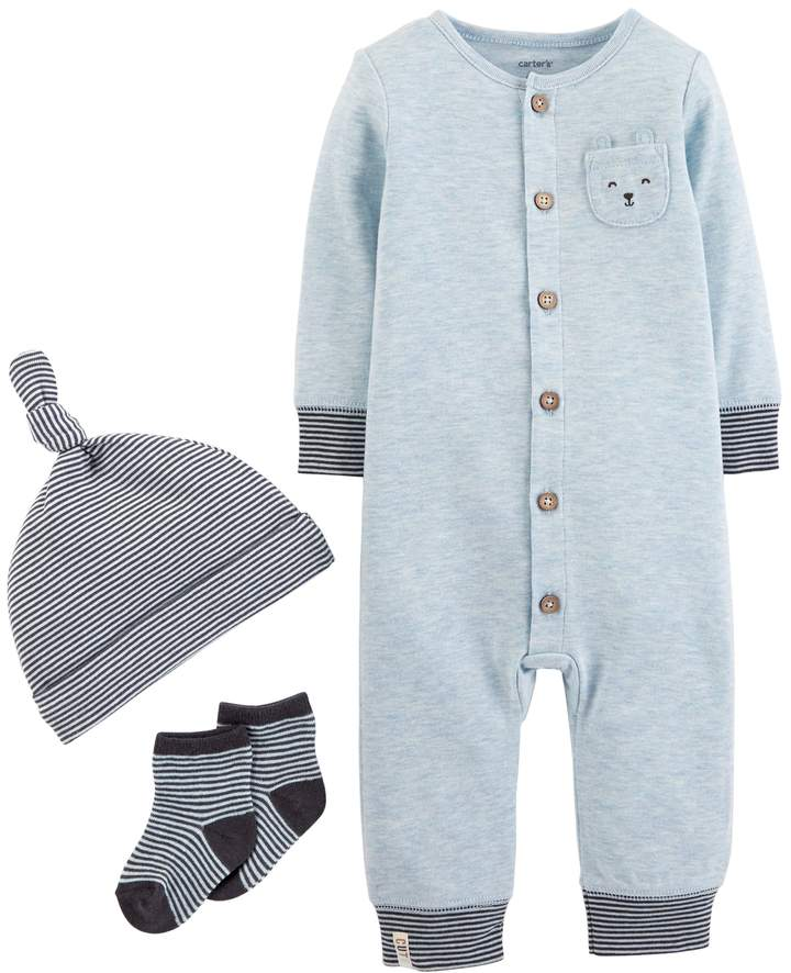 Baby Boy Coverall, Striped Hat & Socks Set