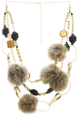 Fur And Rhinestone Necklace