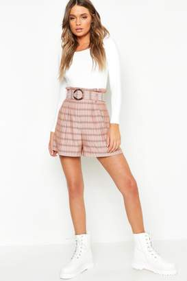 boohoo Check Belted Paperbag Shorts