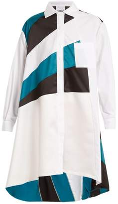 Koché - Colour Block Oversized Cotton Shirtdress - Womens - White Multi