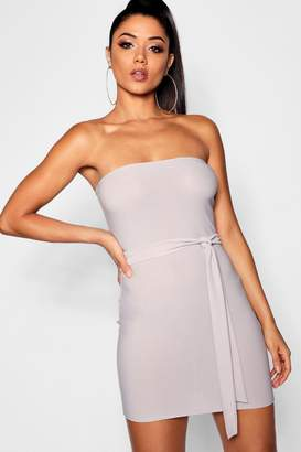 boohoo Bandeau Tie Belt Bodycon Dress