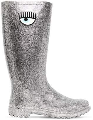 Chiara Ferragni 20mm Glittered Rubber Rain Boots