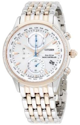 Citizen FC5006-55A Two Tone Stainless Steel Silver Dial Quartz 38mm Womens Watch