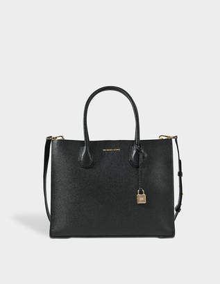 MICHAEL Michael Kors Mercer Large Convertible Tote Bag in Black Pebbled Leather
