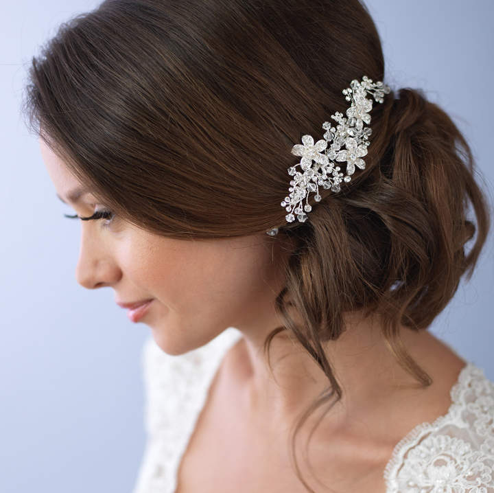 Etsy Floral Bridal Hair Comb, Rhinestone Wedding Comb, Swarovski Crystal Hair Comb, Flower Comb, Hair Com