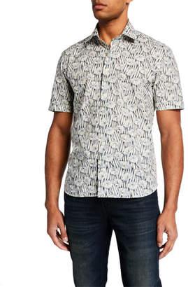 Culturata Men's Abstract Floral-Print Short-Sleeve Sport Shirt
