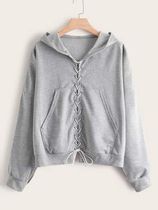 Shein Plus Lace Up Pocket Front Hooded Sweatshirt