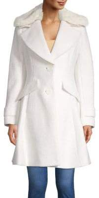 Sam Edelman Faux Fur-Trim Trench Coat